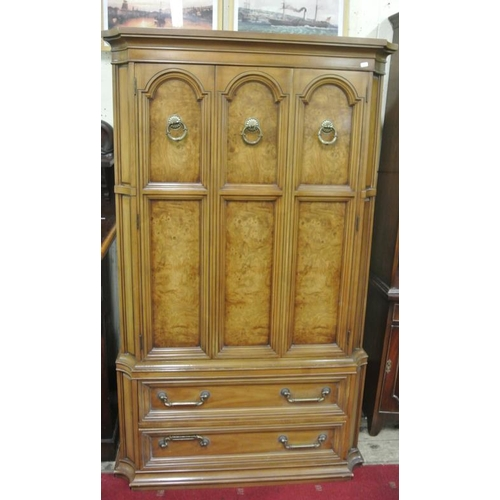 55 - Americans burr walnut gentlemans linen press with ornate brass handles, interior fitted with drawers...