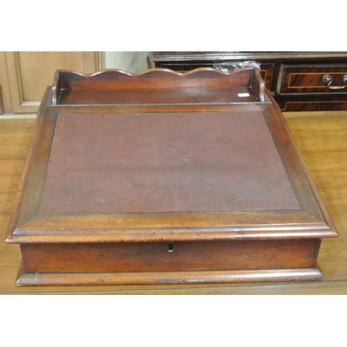 58 - Edwardian mahogany writing slope with raised borders, leather inset, fitted interior...