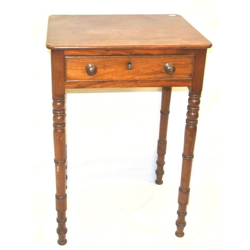 61 - Victorian mahogany hall or side table with frieze drawer, on ring turned legs...