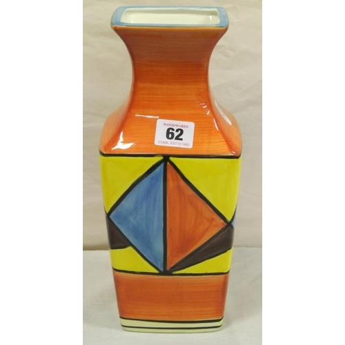 62 - Clarice Cliff style Art Deco 'Bizarre' pattern flower vase...