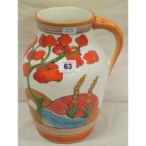 63 - Clarice Cliff style Art Deco 'Bizarre' design ewer with shaped handle...