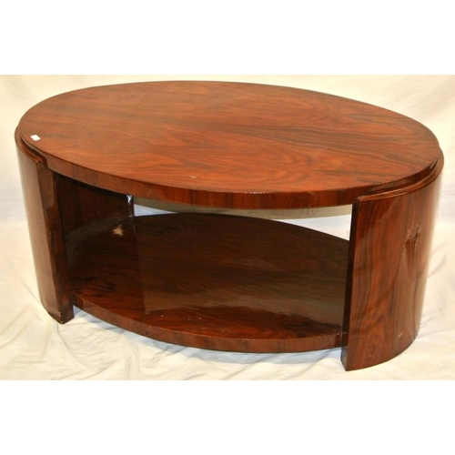 64 - Oval 2 tier  Art deco walnut occasional table with rounded ends...