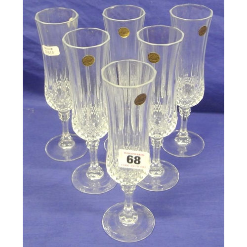 68 - Sets of 6 Galway crystal white wine or champagne flutes in presentation box...