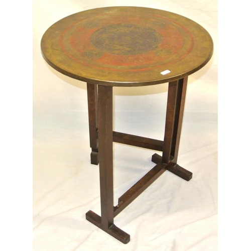 69 - Oriental style folding circular coach table with gateleg support...