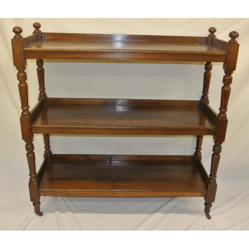 70 - Victorian mahogany 3 tier dumbwaiter with raised gallery, turned columns, on casters...