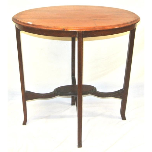 71 - Edwardian inlaid mahogany oval 2-tier occasional table with tapering legs...