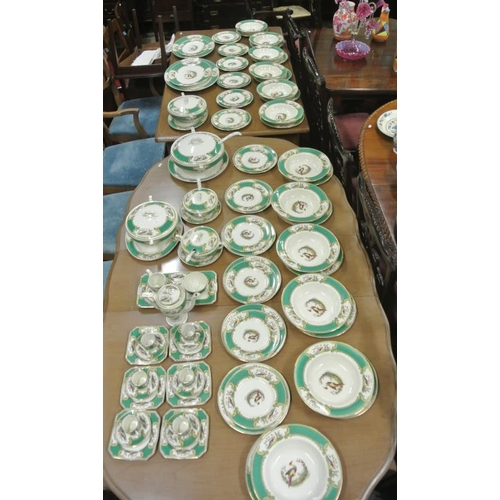 73 - 85 piece Myotts Staffordshire dinner service with ornate bird and gilt decoration...