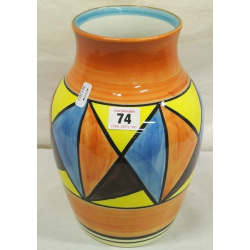 74 - Clarice Cliff style 'Bizarre' design baluster shaped vase...