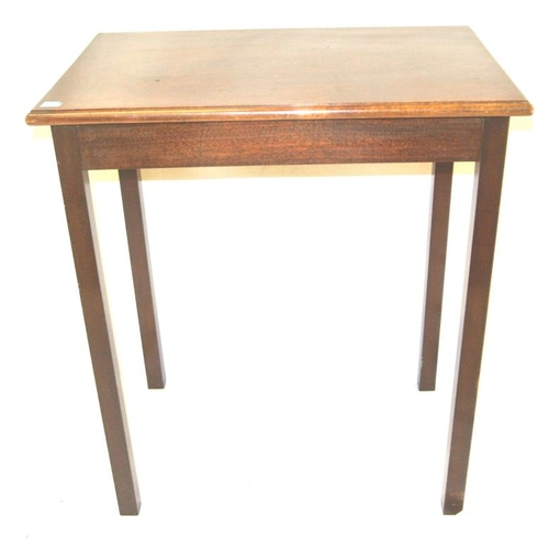 76 - Edwardian mahogany rectangular occasional table on square legs...