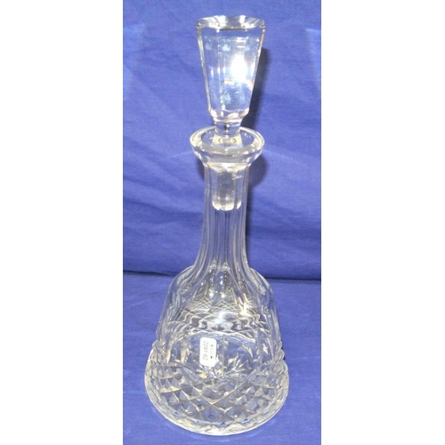 78 - Waterford crystal cut-glass decanter with faceted neck and stopper...