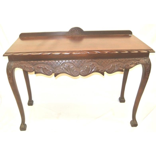 81 - Edwardian design mahogany hall or side table with rope-edge border, scroll apron, on cabriole legs...