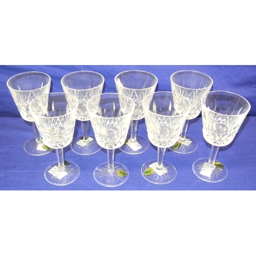 87 - Set of 8 Waterford crystal cut-glass stemmed wine glasses with circular bases...