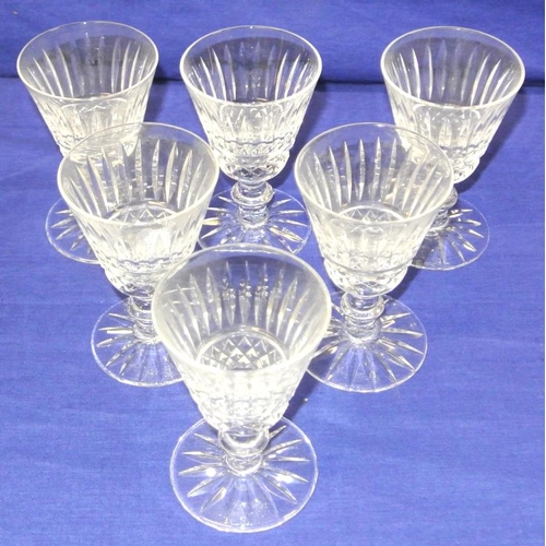 88 - Set of 6 Waterford crystal sherry glasses with knop stems...