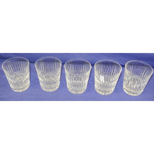 93 - Set of 5 Waterford Crystal cut glass tumblers with diamond banding...
