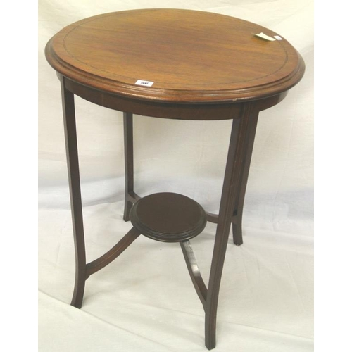 96 - Edwardian inlaid mahogany circular 2-tier table with herringbone inlay, on tapering legs with shaped...