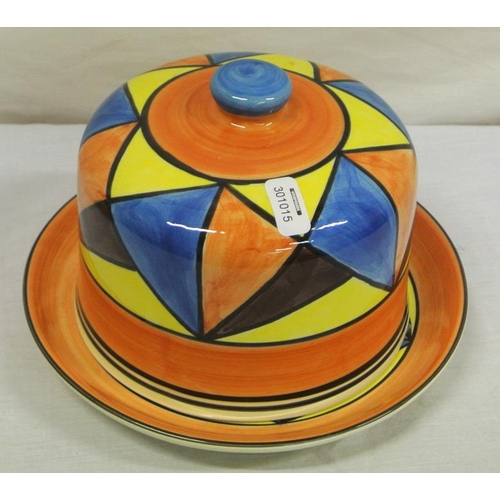 99 - Clarice Cliff style 'Bizarre' design Art Deco cheese dish and cover...
