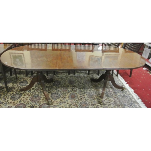 100 - Edwardian design twin pillar D-end dining table with reeded border, extra leaf inset, on turned colu...