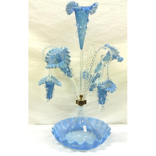102 - Ornate Bristol Blue tinted 4 branch epergne centerpiece with ruffled rims...