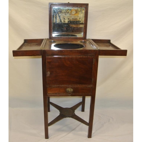 106 - Edwardian inlaid mahogany gentlemans washstand with fold-out top, lift-up mirror and fitted interior...