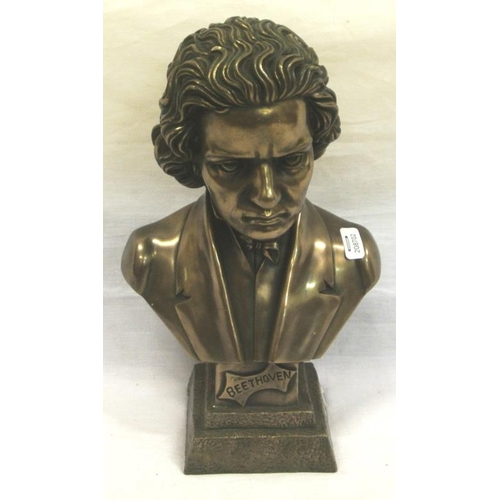 109 - Bronzed bust of Beethoven on stepped base...