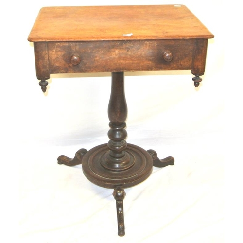 111 - William IV mahogany pod table with frieze drawer, circular handles, raised on baluster turned column...