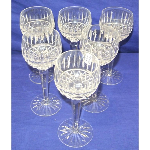 112 - Set of 6 Waterford crystal cut glass stemmed wine or hock glasses...
