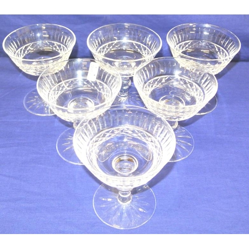 113 - Set of 6 Waterford crystal cut glass champagne or sundae glasses with knop stems...