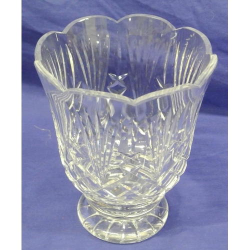 114 - Waterford crystal cut glass flower vase with diamond cut and stepped base...
