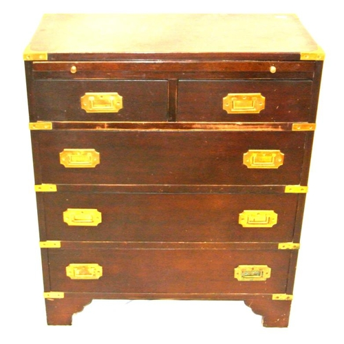 116 - Edwardian mahogany bachelors chest with slide out shelf, 2 short and 3 long drawers with brass reces...