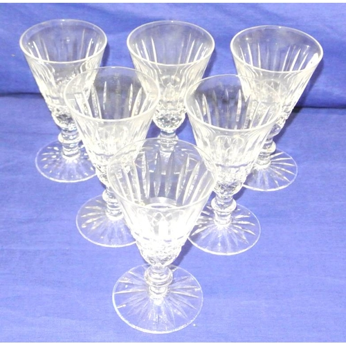 123 - Set of 6 Waterford crystal cut glass wine glasses of circular tapering form, with diamond cut and kn...