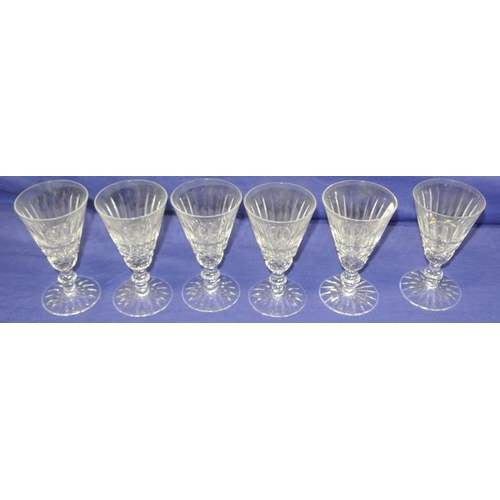 124 - Set of 6 Waterford crystal cut glass sherry glasses of circular tapering form, with diamond cut and ...