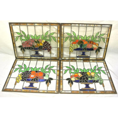 127 - Set of 4 Art Deco stained leaded glass panels depicting fruit in a bowl 50 x 63 each...