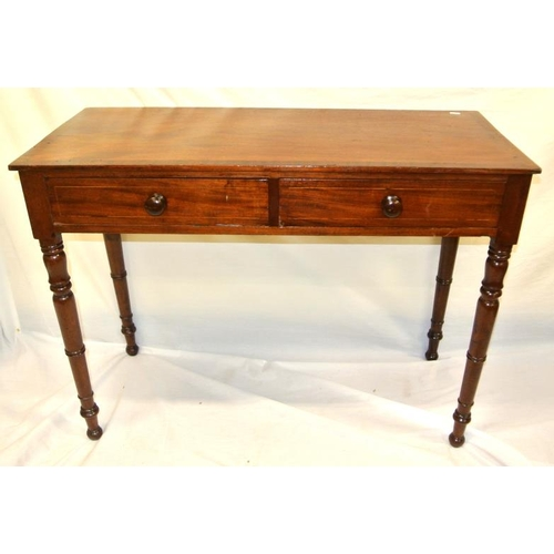 131 - Edwardian inlaid and crossbanded hall or side table with 2 frieze drawers, circular handles, on turn...