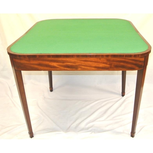 140 - Sheraton style Edwardian inlaid and crossbanded satinwood and walnut card table with rounded borders...