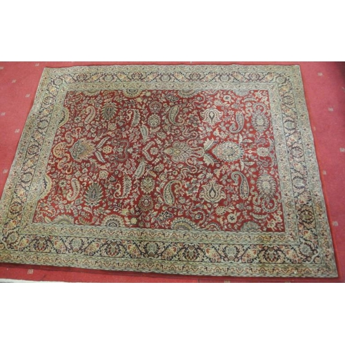 141 - Persian hearth rug with rich foliate decoration...