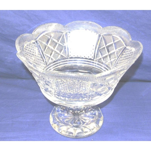 142 - Large Waterford Crystal cut glass pedestal bowl with diamond and hobnail cut panels, scalloped borde...