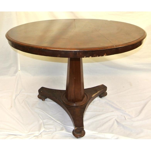 145 - William IV circular mahogany occasional table with tip-up top, on hexagonal column with circular col...