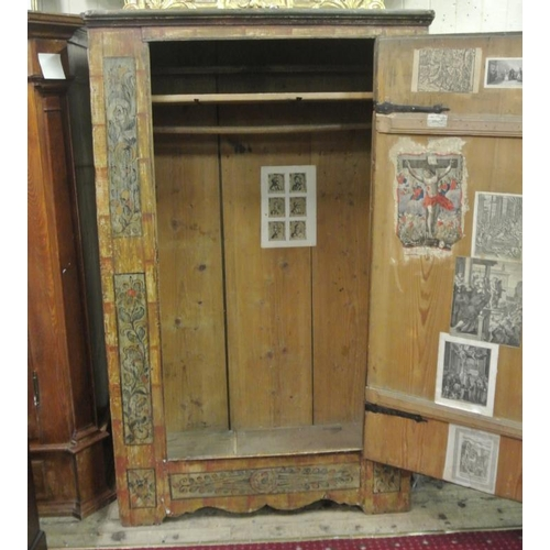 150 - 18 C continental cupboard with ornate painted scenic decoration, interior  with shelf and hanger, me...