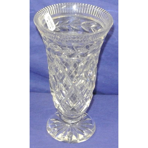 158 - Waterford crystal cut glass flower vase with diamond cut and circular base...
