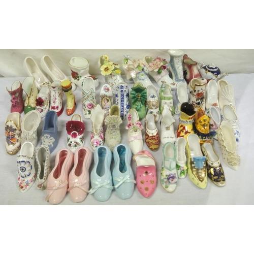 164 - Unique collection of porcelain shoe ornaments c 50...