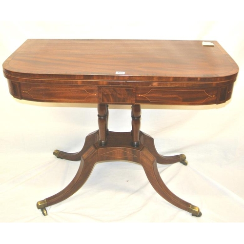 166 - Edwardian Sheraton style inlaid and crossbanded mahogany and rosewood tea table with  swivel fold ov...