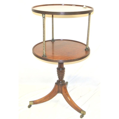 171 - Regency walnut 2 tier circular dumbwaiter with reeded borders, twist reeded brass columns, on balust...