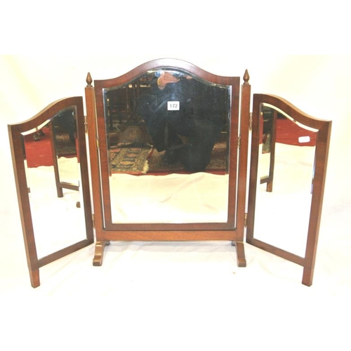 172 - Edwardian mahogany triple beveled vanity mirror with domed top...