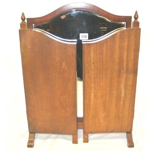 172 - Edwardian mahogany triple beveled vanity mirror with domed top...