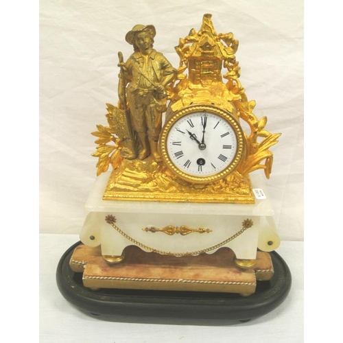 173 - French ormolu and alabaster mantle clock with circular dial, figure decoration, on shaped base...
