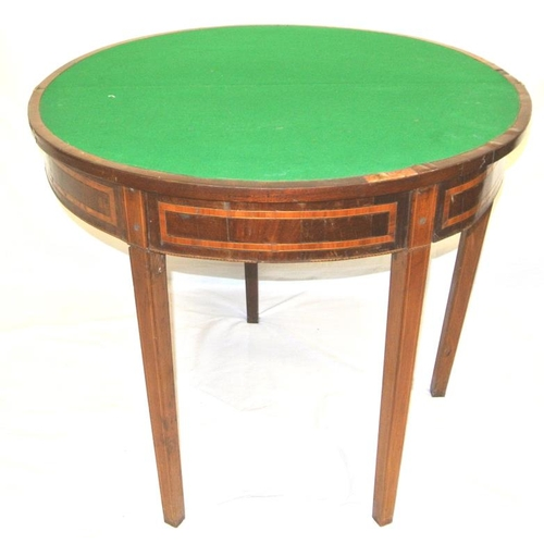 175 - Georgian inlaid and crossbanded mahogany demi lune card table with fold over top, pull-out gateleg s...