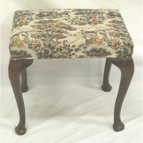 176 - Victorian mahogany stool with figured upholstery, on cabriole legs...