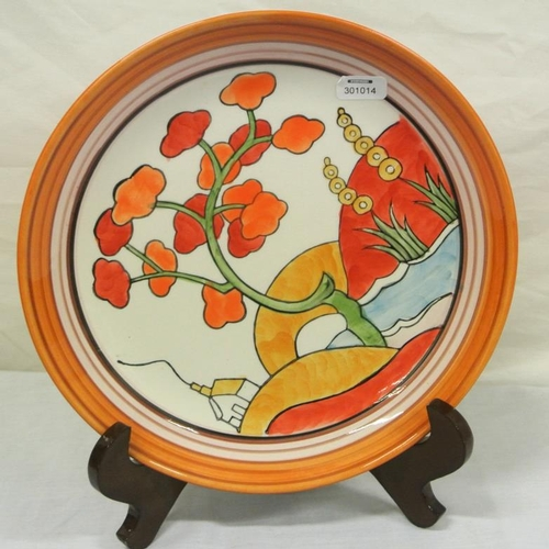 178 - Clarice Cliff style 'Bizarre' pattern Art Deco circular plate or plaque on stand...