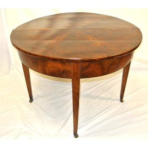 180 - Georgian inlaid mahogany demi-lune tea or centre table with fold-over top, pull out gateleg support,...