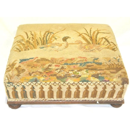182 - Victorian mahogany footstool wit bird decorated needlepoint...